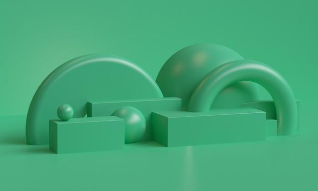 Sfondo astratto geometrico primitivo minimalista verde, podio elegante illustrazione alla moda, stand, vetrina su colori pastello per prodotto premium. rendering 3d.