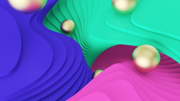 Sfondo astratto le sfere dorate rotolano sui gradini verdi, rosa e blu. realtà psichedelica e mondi paralleli