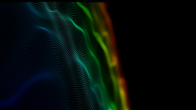 Sfondo astratto movimento superficie ondeggiante digitale