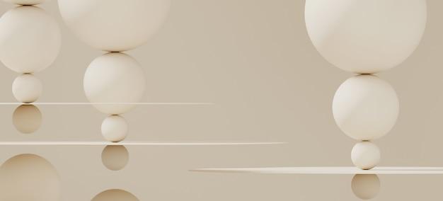 Sfondo astratto per il branding e presentazione minimale. bottiglia cosmetica fuori dall'aereo e dalla sfera circolari di colore bianco sporco su fondo bianco. illustrazione di rendering 3d.
