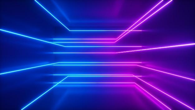 Sfondo astratto, raggi al neon in movimento, linee luminose all'interno della stanza, luce ultravioletta fluorescente, spettro viola rosa rosso blu, illustrazione 3d