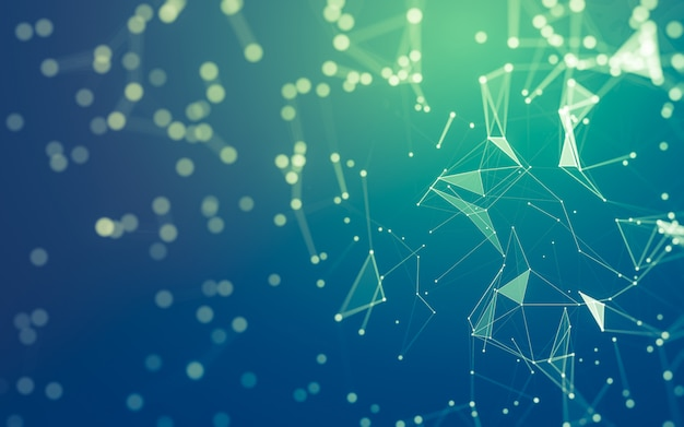 Sfondo astratto tecnologia delle molecole con forme poligonali, punti e linee di collegamento