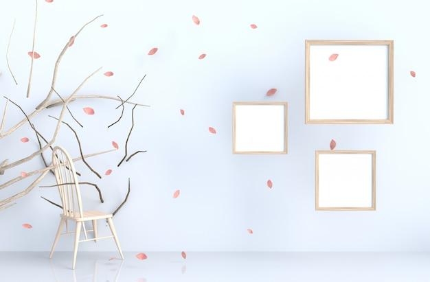 Sfondo bianco con cornice e rosa soffiaggio foglie, ramo, sedia.