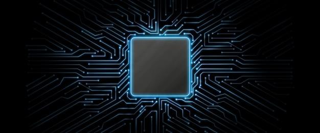Sfondo blu circuito incandescente