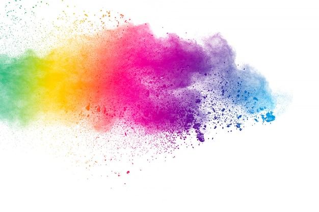 Sfondo colorato di polvere pastello. spruzzi di polvere di colore