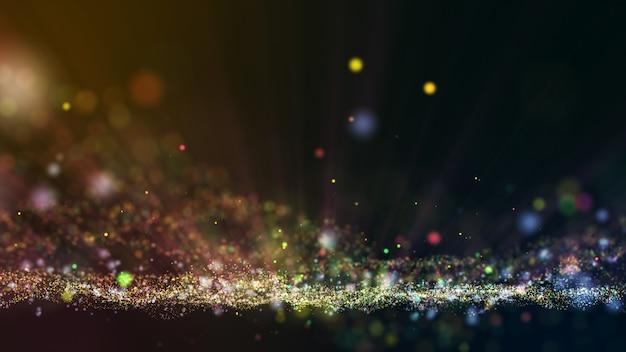 Sfondo colorato giallo verde rosa animazione astratta con forma di particelle in movimento e sfarfallio. sfondo di effetto raggio di luce bokeh.