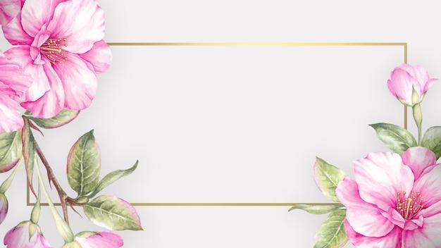 Sfondo con fiori di sakura dell'acquerello e cornice elegante