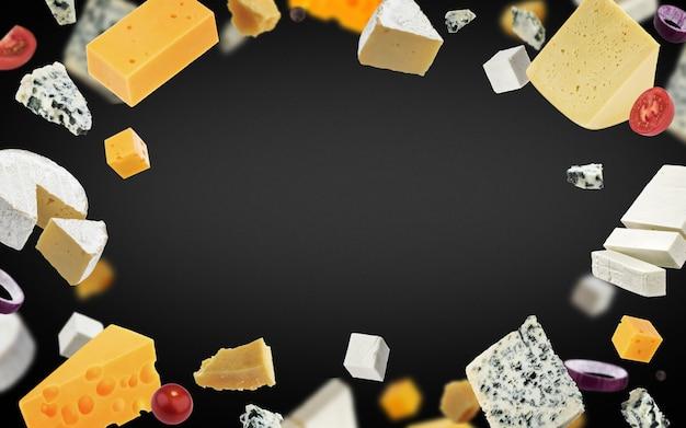 Sfondo cornice di formaggio, diversi tipi di formaggio
