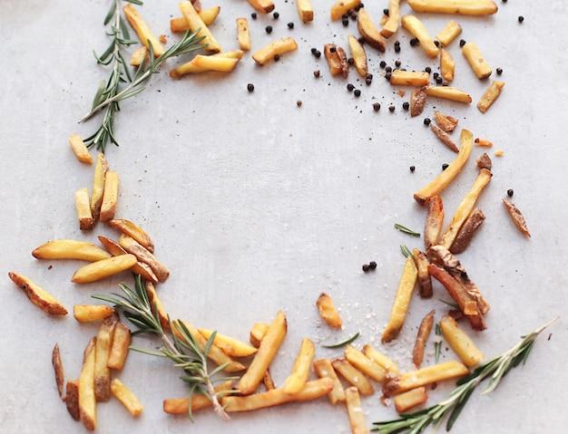 Sfondo cornice di patatine fritte