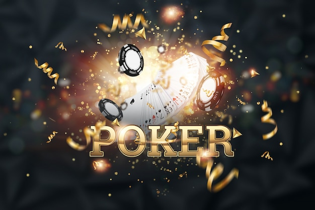 Sfondo creativo, il poker di iscrizione, carte, fiches del casinò su uno sfondo scuro
