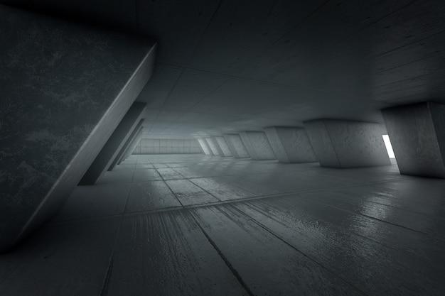 Sfondo creativo, interno astratto stanza vuota con muri di cemento, pavimento in cemento e soffitto in cemento rendering 3d, copia spazio.