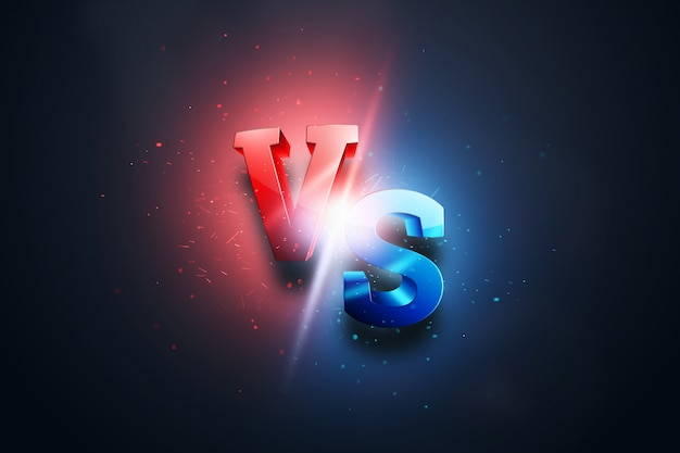 Sfondo creativo, rosso-blu contro logo, lettere per lo sport e il wrestling