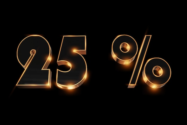 Sfondo creativo, saldi invernali, 25 percento, sconto, numeri d'oro 3d.