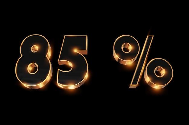 Sfondo creativo, saldi invernali, 85 per cento, sconto, numeri d'oro 3d.