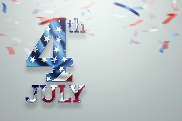 Sfondo creativo, scritta il 4 luglio su uno sfondo chiaro