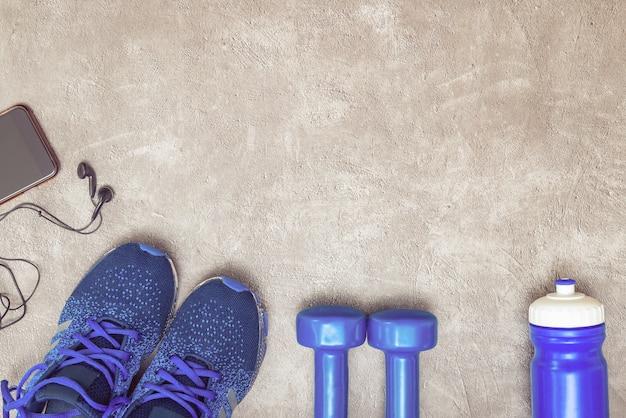 Sfondo del concetto di sport. attrezzatura per allenamento.