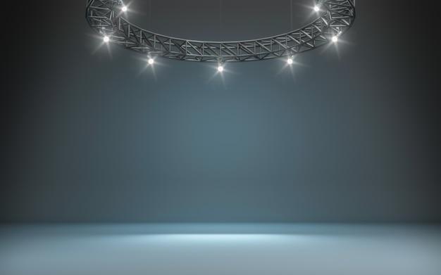 Sfondo del palcoscenico con riflettori. rendering 3d