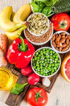 Sfondo di cibo sano, prodotti dietetici alcalini alla moda