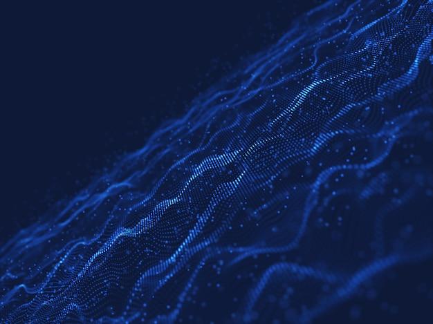 Sfondo di comunicazioni di rete 3d con particelle fluenti e galleggianti