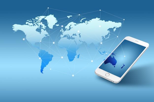 Sfondo di concetto di globalizzazione o rete sociale con la nuova generazione di telefono cellulare