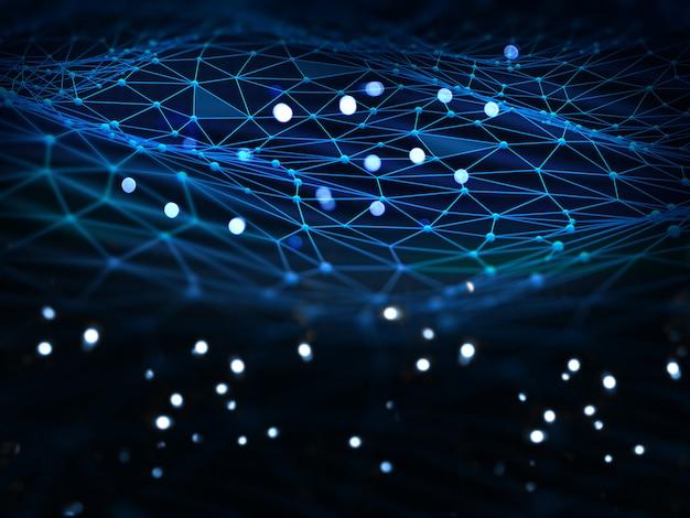 Sfondo di connessioni di rete con luci incandescenti e linee e punti di collegamento