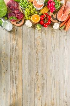 Sfondo di dieta flessibile, ingredienti alimentari, carne, mare e verdure