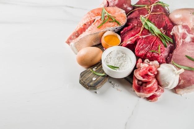 Sfondo di dieta proteica carnivoro