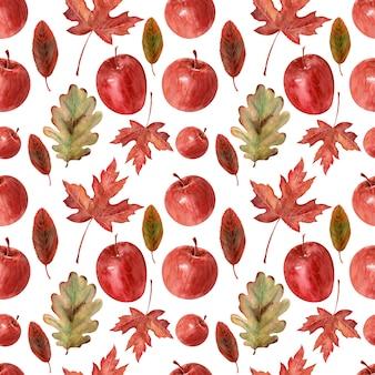 Sfondo di disegno ad acquerello mele, foglie e telaio