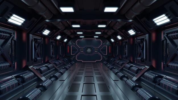 Sfondo di fantascienza fiction rendering interni navicella spaziale fantascientifica corridoi luce rossa.