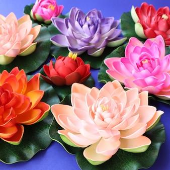 Sfondo di fiori di loto colorati