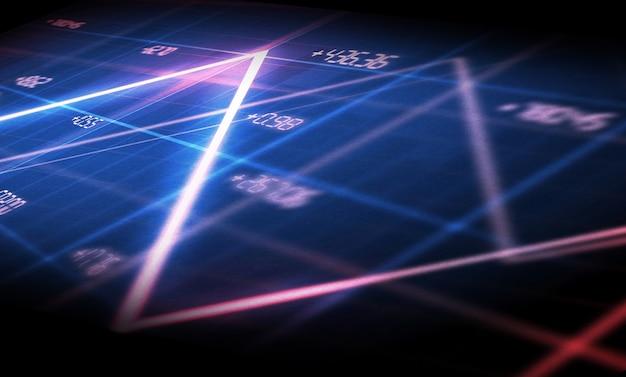 Sfondo di grafici e grafici finanziari. grafico a linee sullo schermo, illustrazione