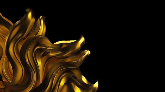 Sfondo di lusso con tessuto panneggio oro. illustrazione 3d