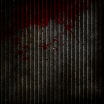 Sfondo di metallo grunge con schizzi sanguinanti