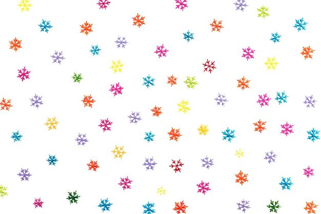 Sfondo di molti diversi fiocchi di neve colorati. isolato