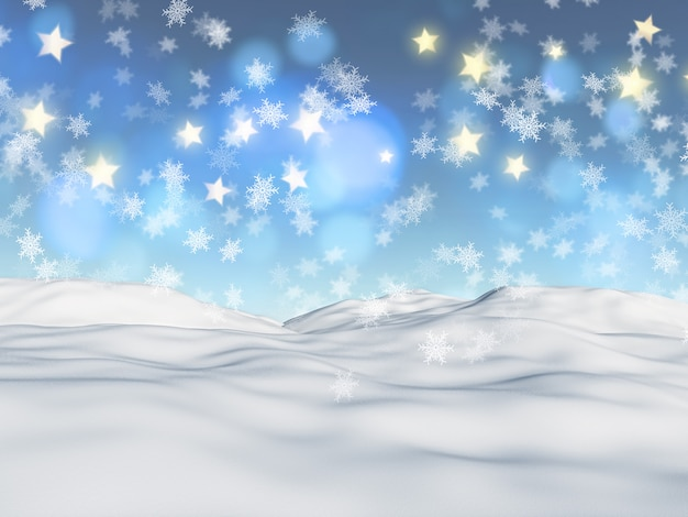 Sfondo di natale 3d con fiocchi di neve e stelle