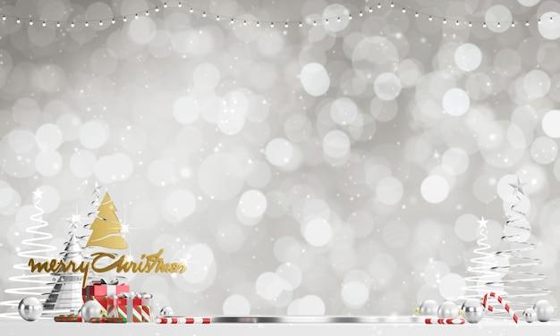 Sfondo di natale allegro con bokeh luce e nevicate sfondo. rendering 3d.
