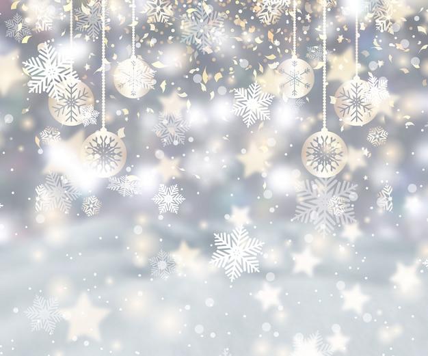 Sfondo di natale con fiocchi di neve, palline e coriandoli