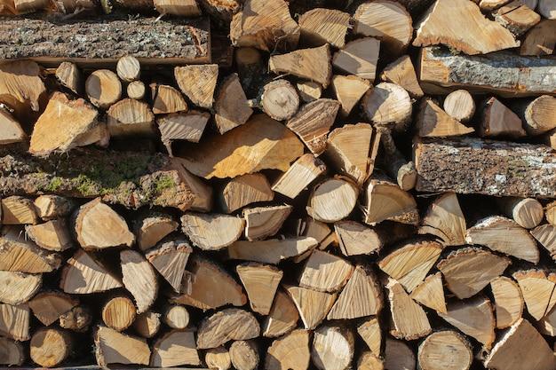 Sfondo di pila di legna da ardere