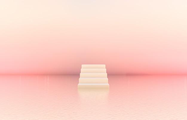 Sfondo di podio di bellezza naturale con scala bianca per esposizione di prodotti cosmetici.