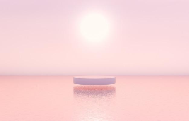 Sfondo di podio di bellezza naturale con scatola cilindrica per esposizione di prodotti cosmetici.
