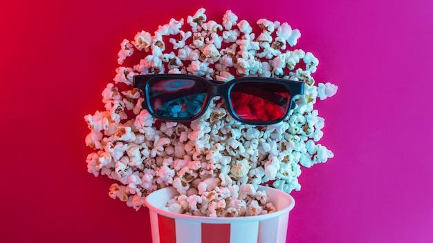 Sfondo di popcorn per il concetto di cinema