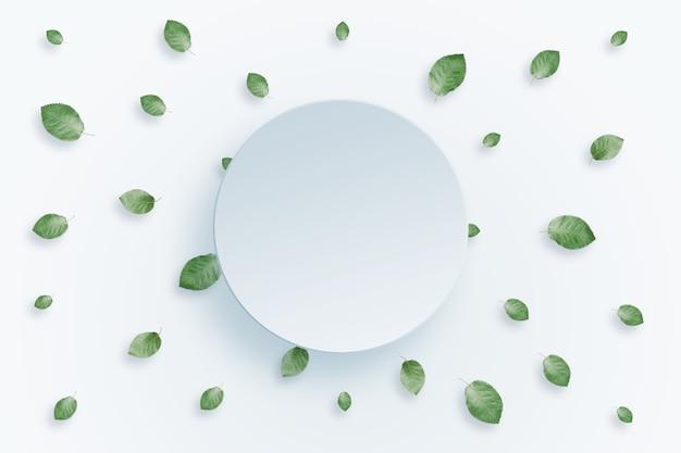 Sfondo di primavera, cornice di foglie verdi su sfondo chiaro
