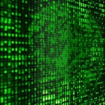 Sfondo di programmazione 3d con codice binario astratto