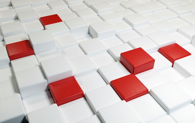 Sfondo di quadrati con trama in pelle e colori bianco e rosso