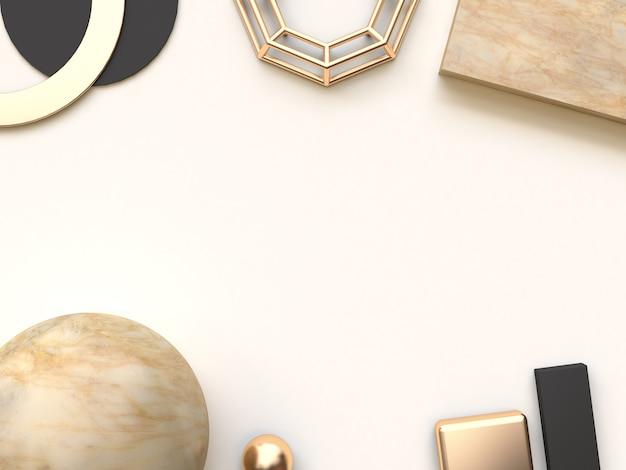 Sfondo di rendering 3d di forma geometrica astratta crema marrone nero