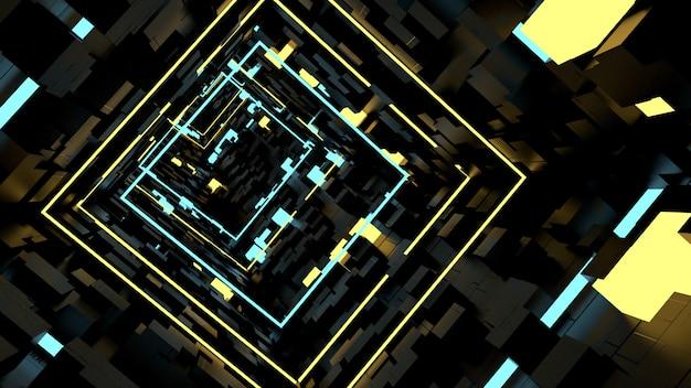 Sfondo di running in box light tunnel in scena retrò e fantascientifica.
