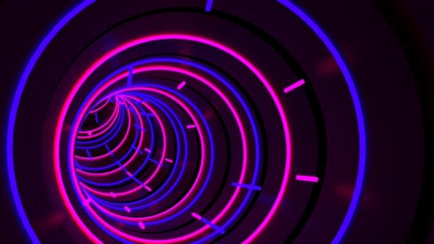 Sfondo di running in neon light circle tunnel in scena di festa retrò e alla moda.