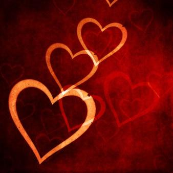 Sfondo di san valentino con disegno di cuori in stile grunge