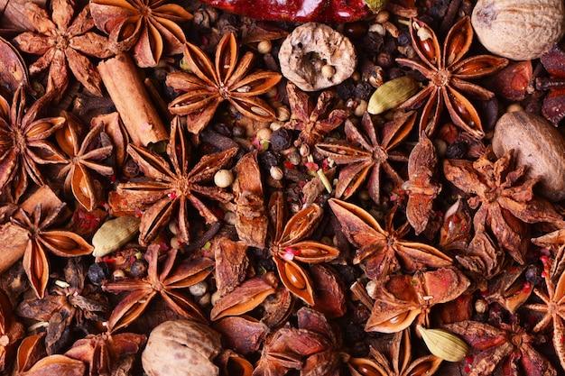 Sfondo di spezie aromatiche