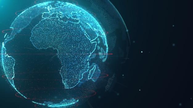Sfondo di tecnologia dati mappa mondo